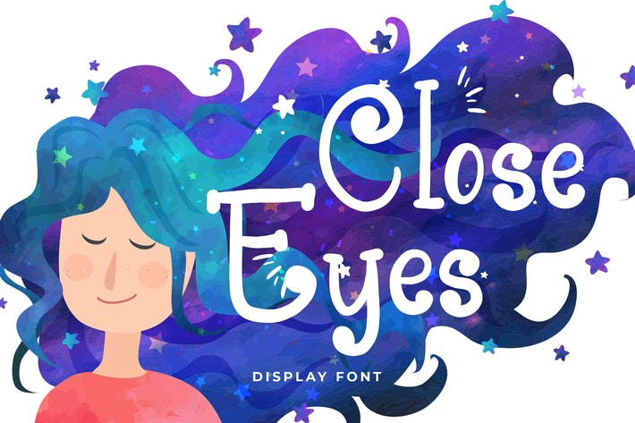 Thumbnail for Close Eyes Playful Display Font