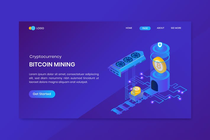 Thumbnail for Isometric Bitcoin Mining Landing Page Template