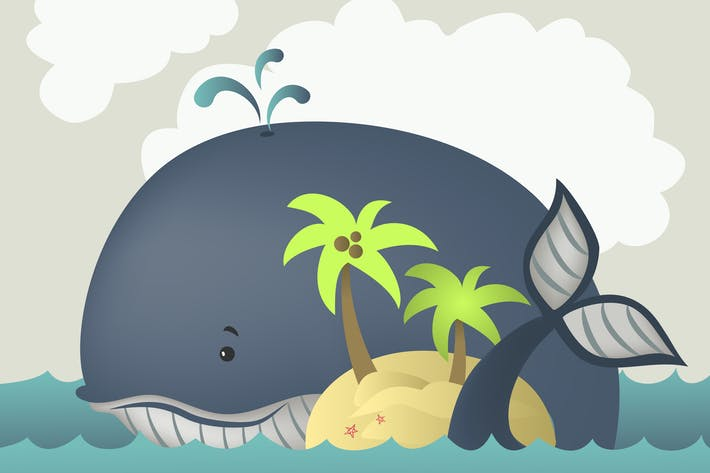 Thumbnail for Whale and island in blue sea . Vector illustration