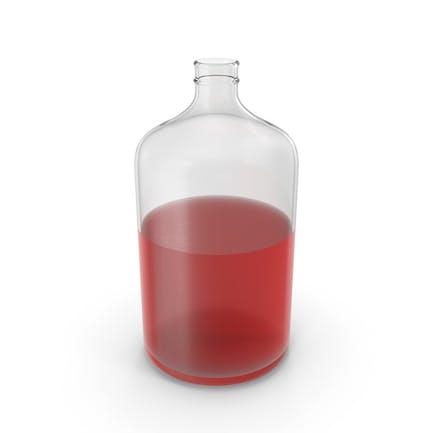 Botella de vidrio con líquido