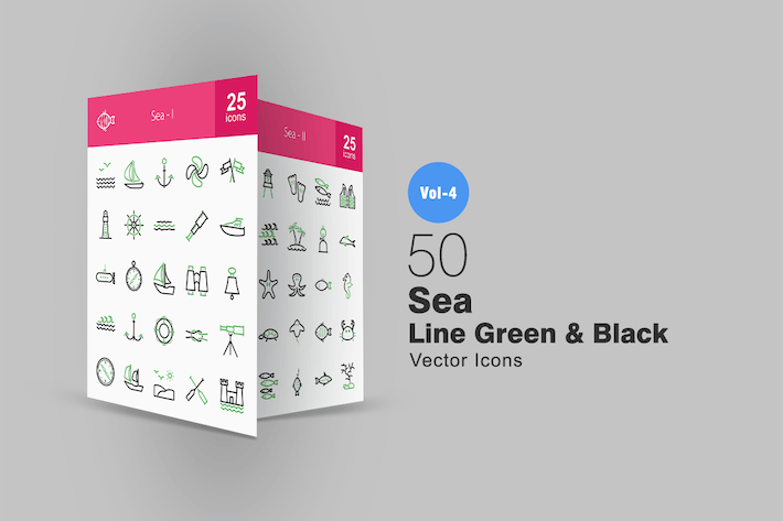 50 Sea Line Green & Black Icons