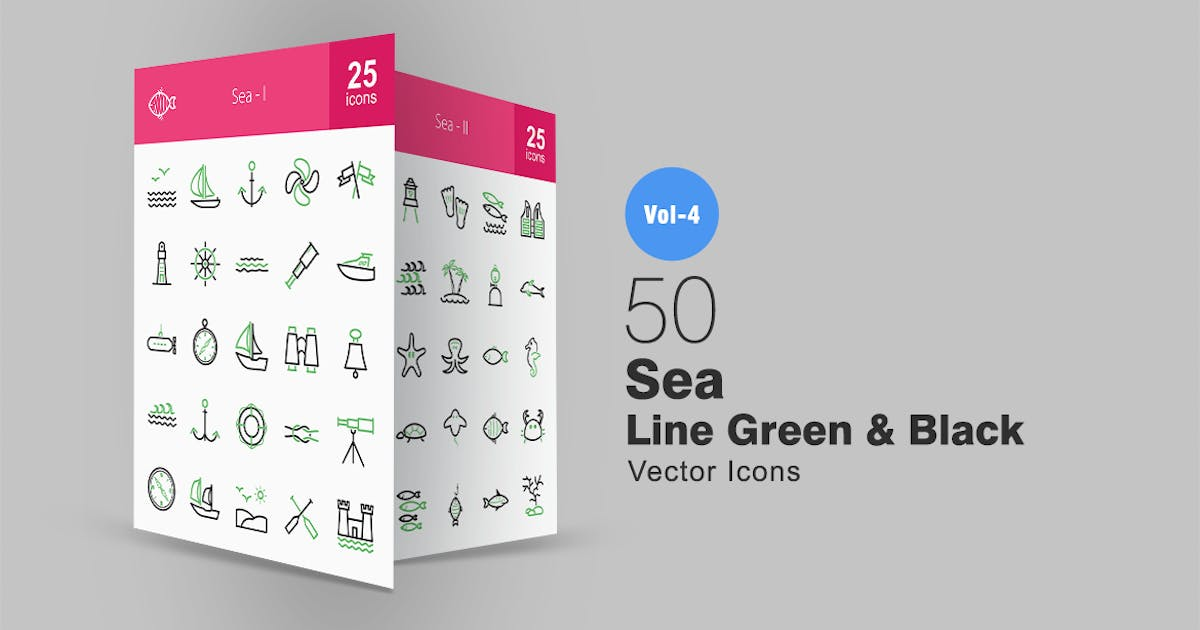 Download 50 Sea Line Green & Black Icons by Unknow
