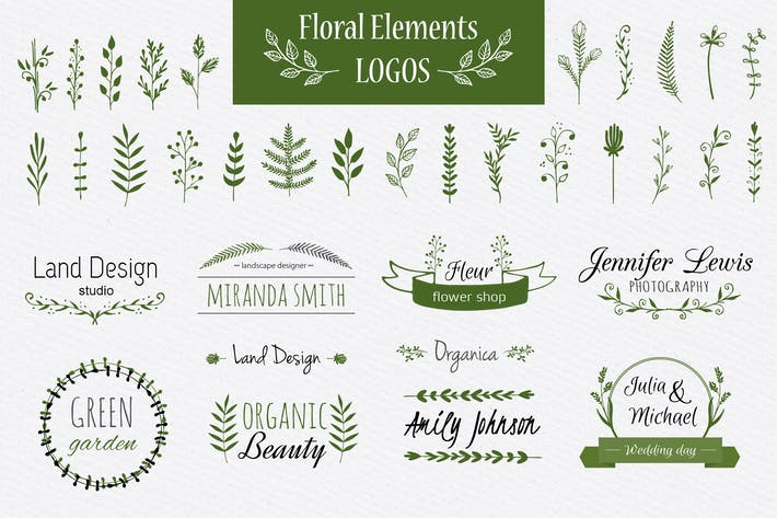 Thumbnail for Floral elements and logo templates