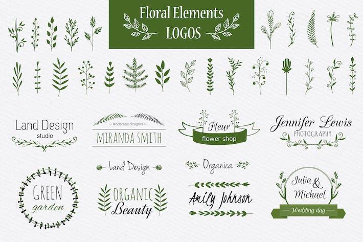 Thumbnail for Elementos florales y Plantillas de Logo
