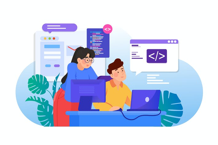 Man and woman are working together on programming