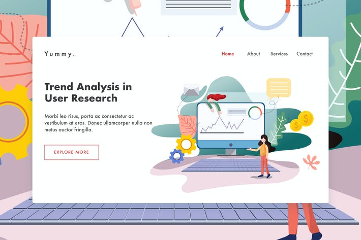 Trending research web template for Landing page