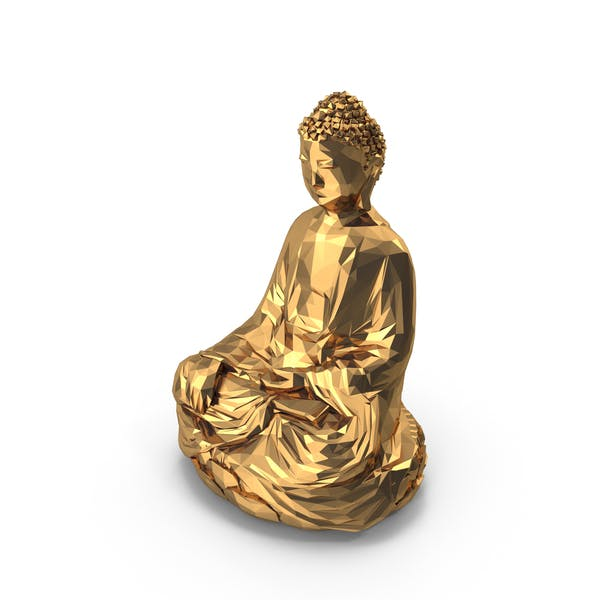 Goldener Buddha mit niedrigem Poly