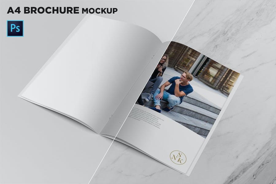 A4 Brochure Mockup Open Pages