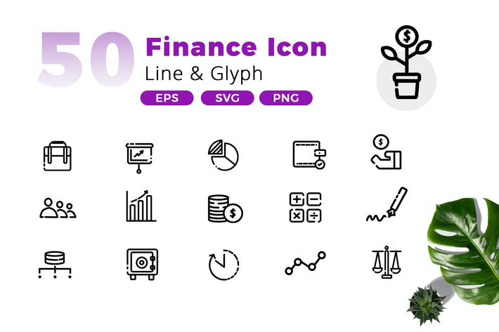 Thumbnail for 50 Finance Icon Pack