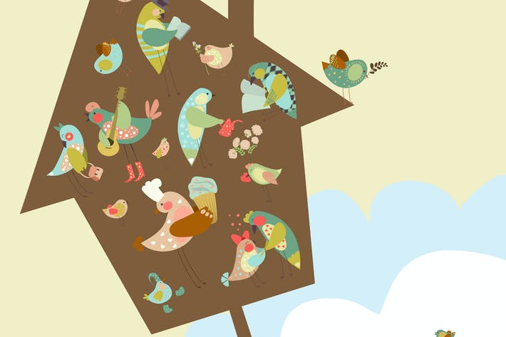 Thumbnail for Set of cute birds in vector