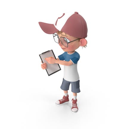 Cartoon Boy Holding Notepad