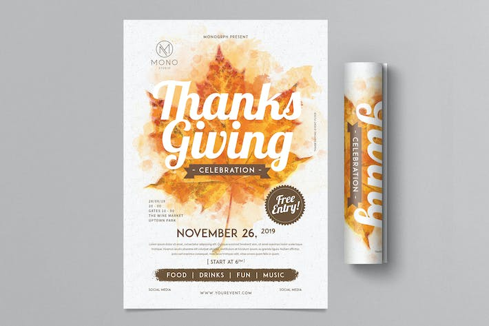Beautiful Maple Leaf Design Thanksgiving Flyer Template