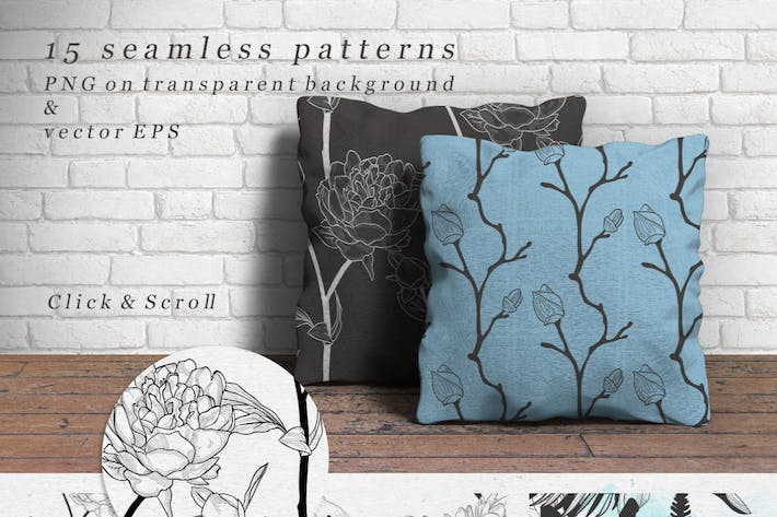 Thumbnail for Decorative Black Hand Drawn Rustic Floral Patterns