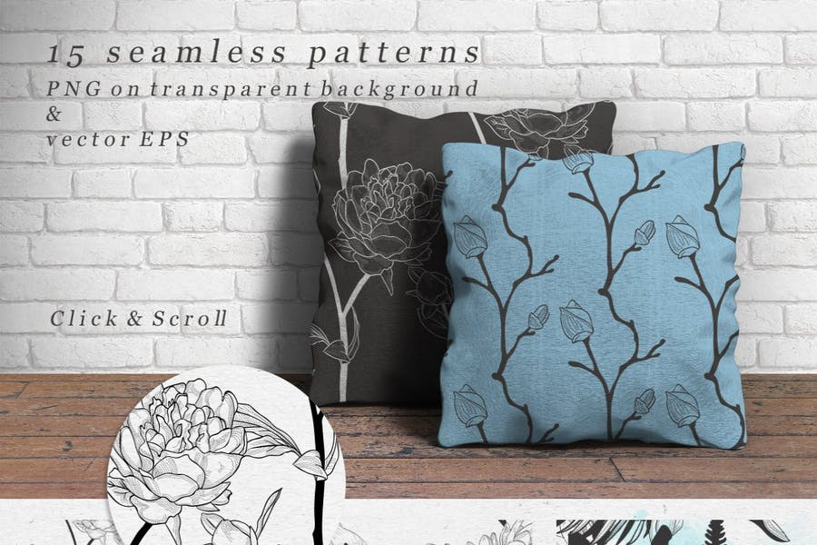 Decorative Black Hand Drawn Rustic Floral Patterns