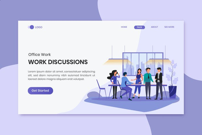 Thumbnail for Work Discussions Office Worker Landing Page