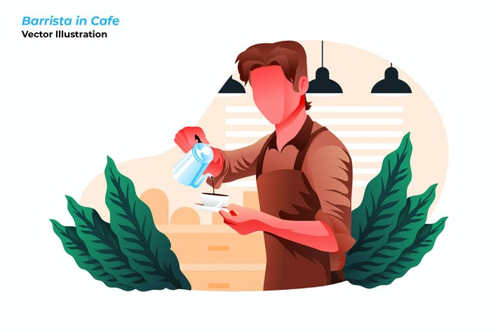 Barrista in Cafe - Vector Illustration