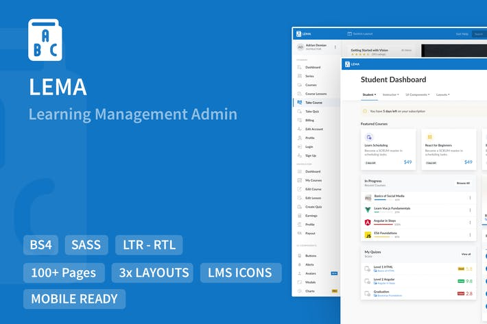 Thumbnail for LEMA - Learning Management System Admin Template