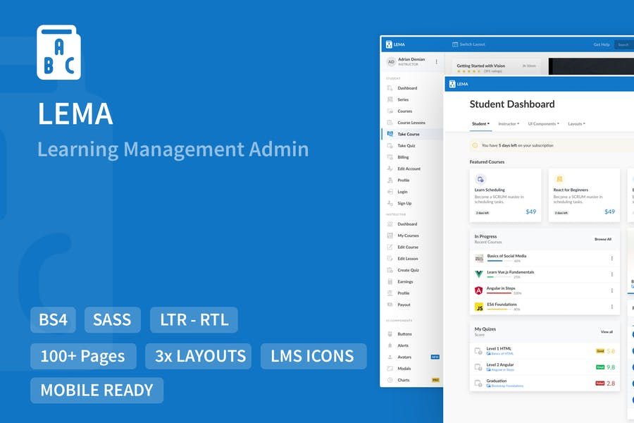 LEMA - Learning Management System Admin Template