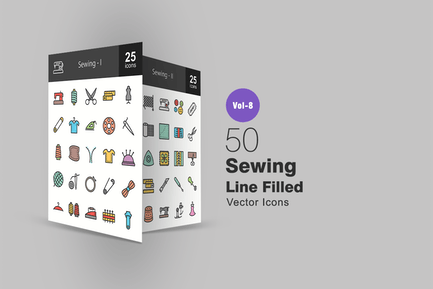 50 Sewing Line Filled Icons