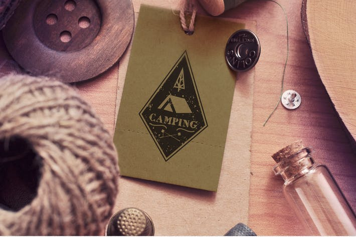 Thumbnail for Vintage Camping Logo Template / Retro Travel Badge