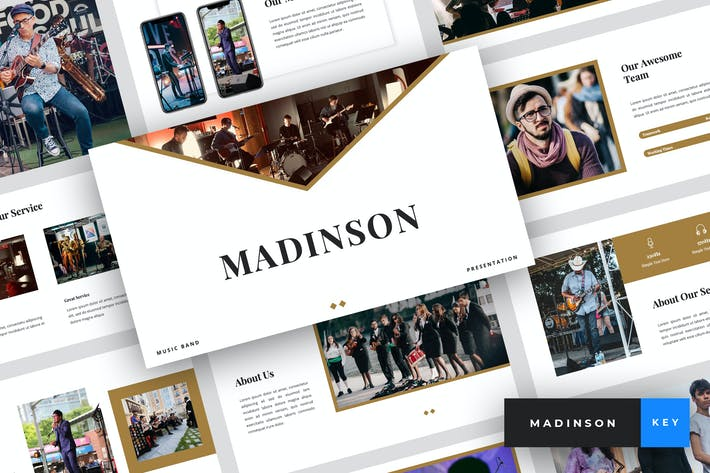 Thumbnail for Madinson - Music Band Keynote Template