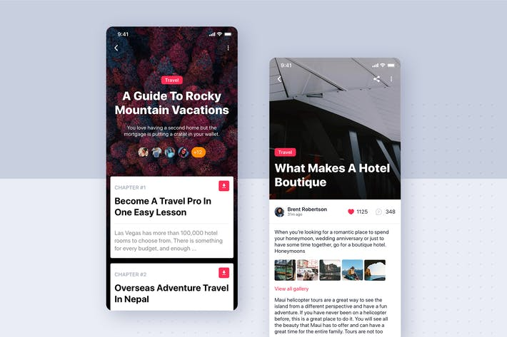 Thumbnail for Articles Details UI mobile template for SKETCH