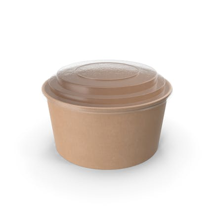 Cuenco de papel kraft con tapa transparente para sopa para ensalada 32 oz 1000 ml