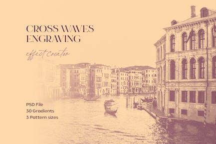 Cross Waves Engraving Effect