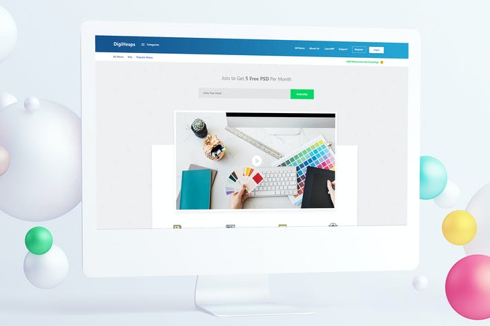 Thumbnail for Digital Marketplace Landing Page PSD Template