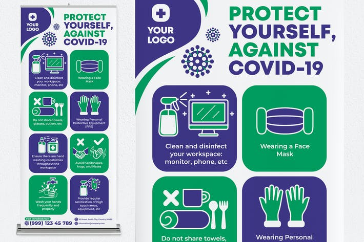 Protect Yourself, Against Covid-19 Roll Up Banner