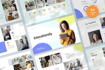 Plantilla de presentación de diapositivas educativas en línea