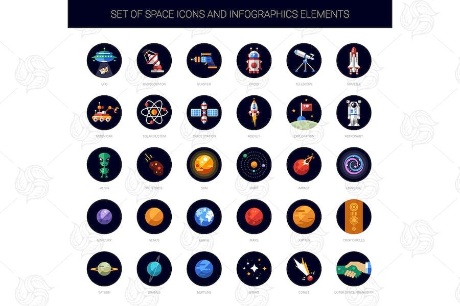 Space - modern flat design icon set