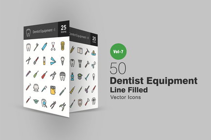 50 Dentist Equipment Filled Line Icons