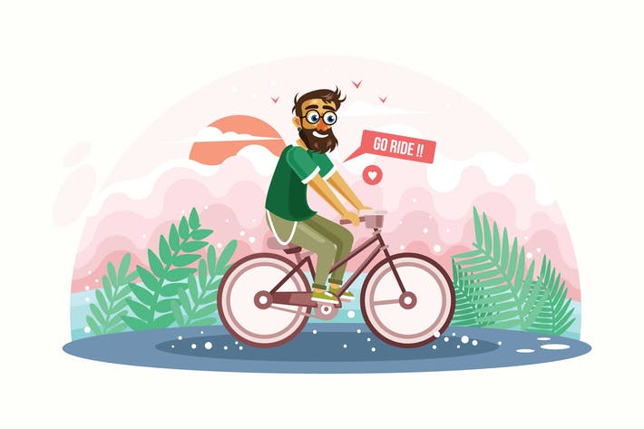 Cover Image For Hipster Man Riding Bicycle Vector Illustration