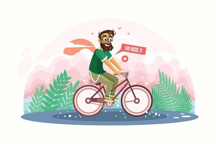 Thumbnail for Hipster Mann Reiten Fahrrad Vektor Illustration