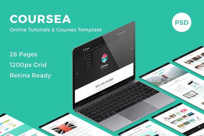 Thumbnail for Coursea - Online Tutorials & Courses Template