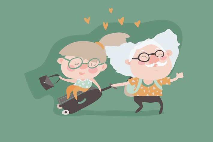 Thumbnail for Travel in old age vector concept. Flat design.