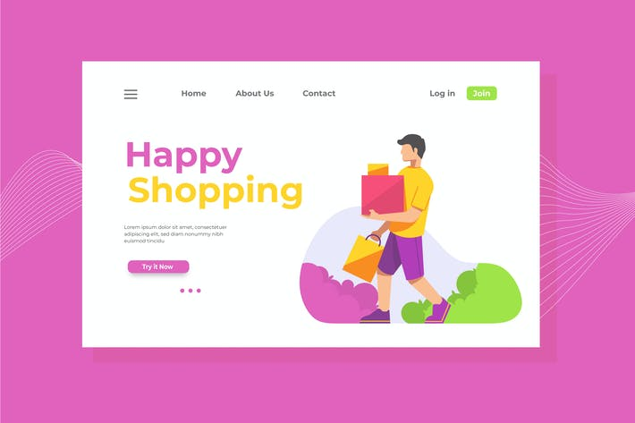 Thumbnail for Happy Shopping Landing Page Illustration