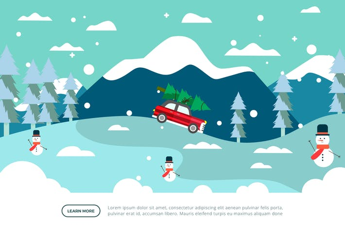 Thumbnail for Auto mit Baum - Winter-Illustration