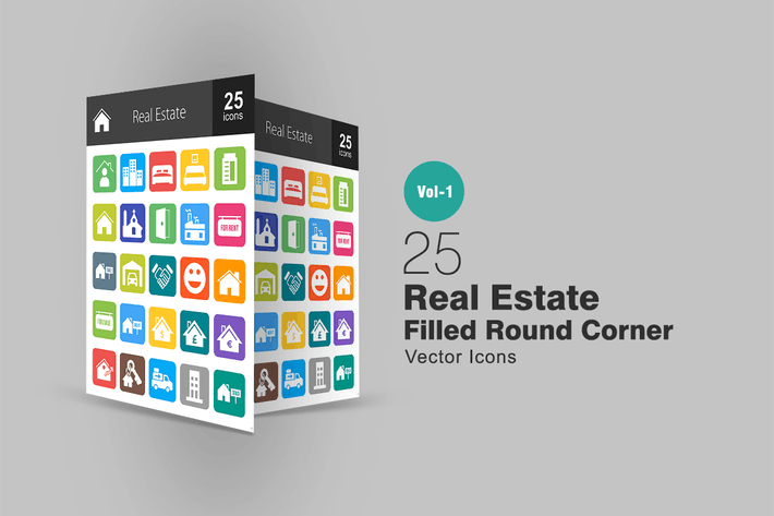 Thumbnail for 25 Real Estate Flat Round Corner Icons