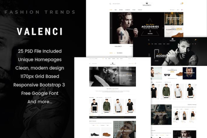 Thumbnail for Valenci - Multipurpose eCommerce PSD Template
