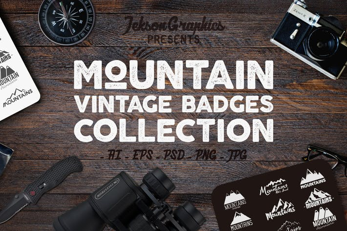 Cover Image For Mountain Vintage Badges / Adventure Logo Set