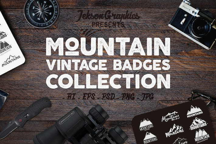 Thumbnail for Mountain Vintage Badges / Adventure Logo Set