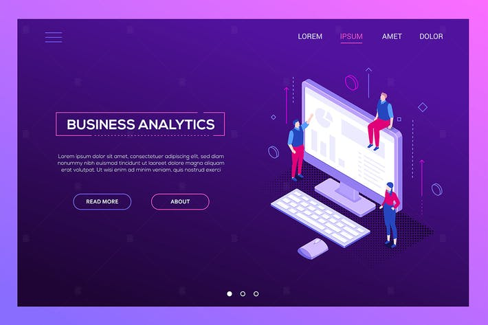 Thumbnail for Business analytics - isometric vector web banner