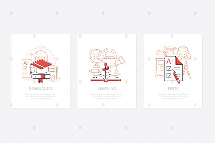 Thumbnail for Education - line design style banners set