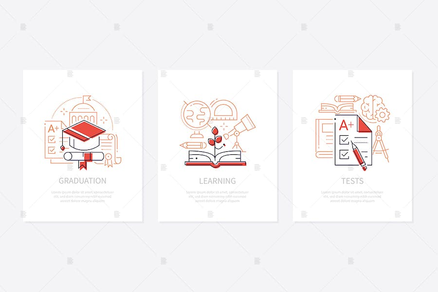 Education - line design style banners set