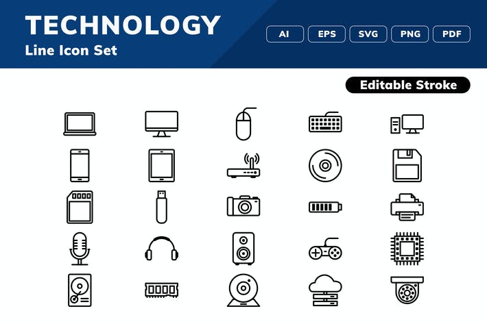 Thumbnail for Technology Icon Set
