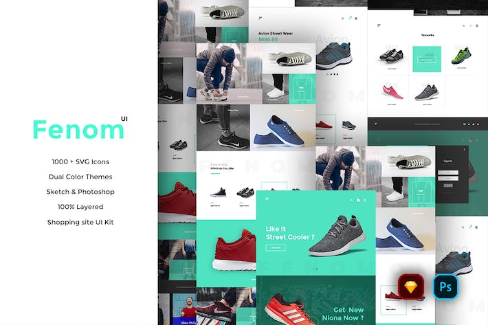 Thumbnail for Fenom Shopping Website UI Kit
