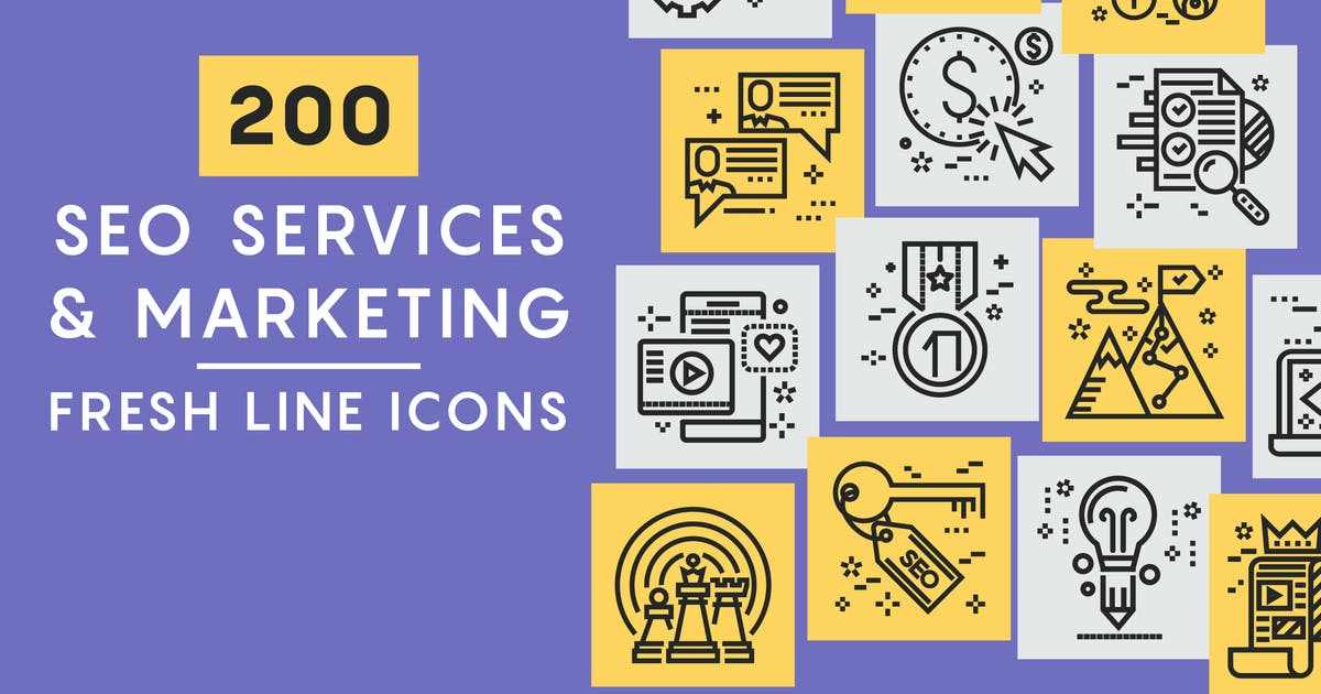 Download SEO Marketing Line Icons by Unknow