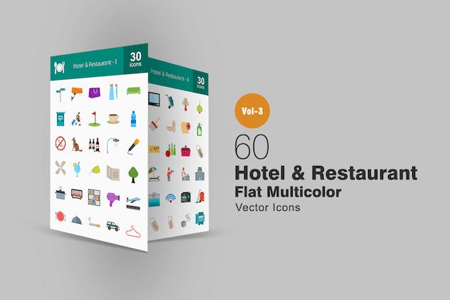 60 Hotel & Restaurant Flat Multicolor Icons